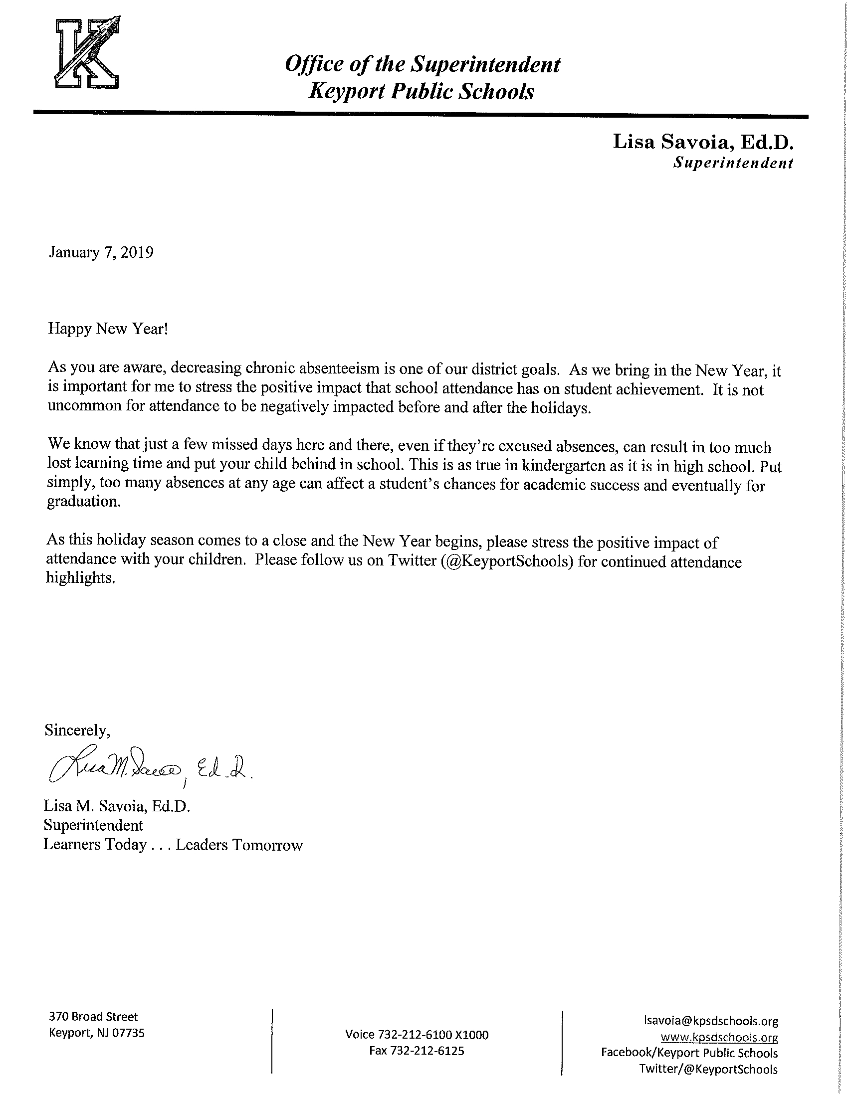 Attendance Letter from the Superintendent
