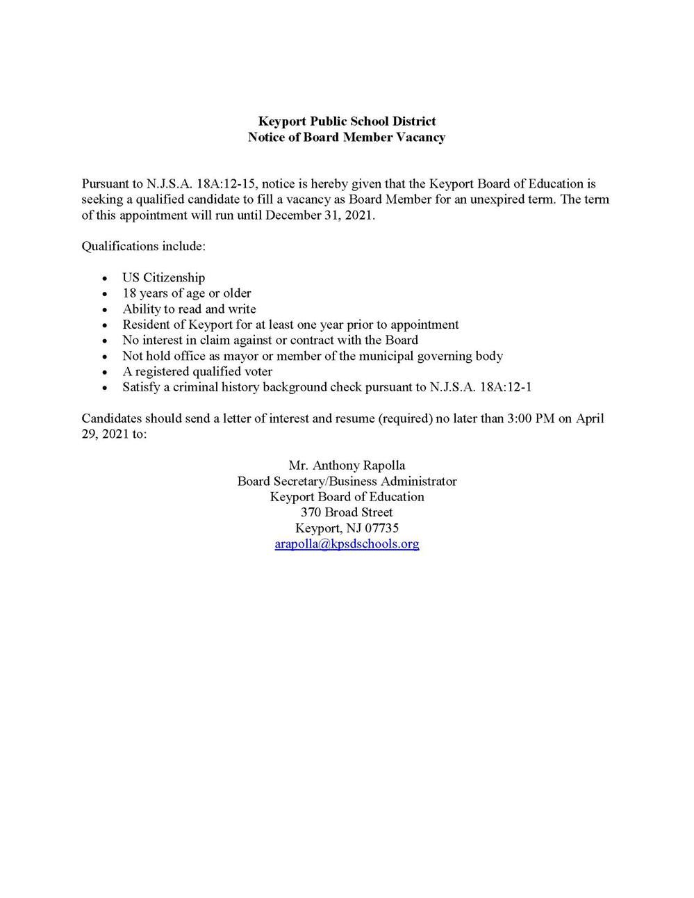 Notice of Board Member Vacancy