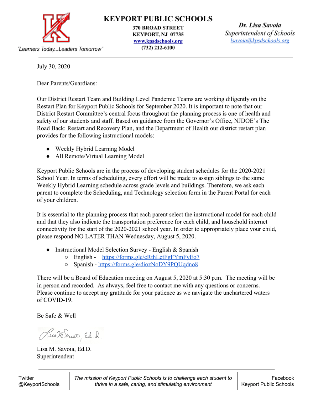 Instruction and Technology Letter July 30, 2020